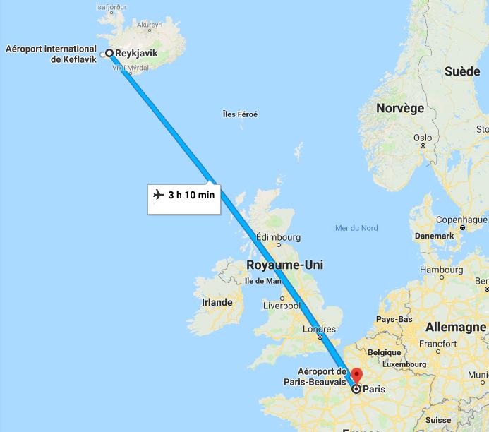 distance paris reykjavik