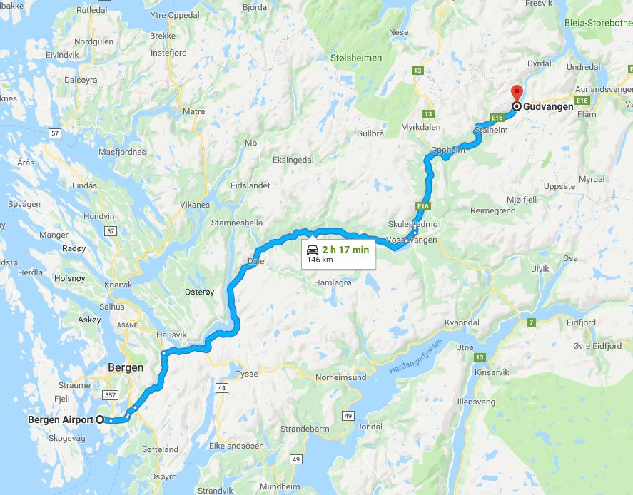 itinéraire en Norvège Bergen Gudvangen en road-trip